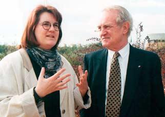 Gespräch mit Ministerpräsident Johannes Rau bei einem NRW-Delegationsbesuch in Israel.