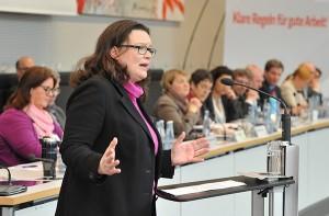 Bundesarbeitsministerin Andrea Nahles. (Foto: A. Amann)