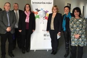 Michael Wortmann und Marcus Kowalczyk (Arbeitsagentur), Kerstin Griese, Anette Kramme, Martina Würker (Jobcenter) sowie Marion Taha (Integration Point).
