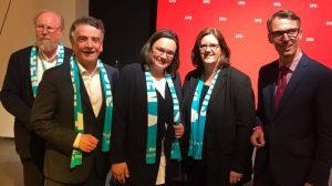 SPD-Empfang anlässlich des Katholikentages: Wolfgang Thierse, Mike Groschek, Andrea Nahles, Kerstin Griese, Lars Castellucci.