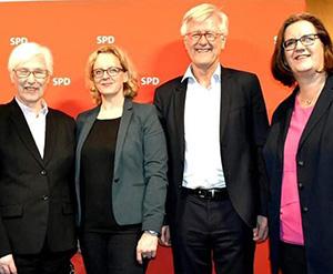 SPD-Empfang am Rande der EKD-Synode: Irmgard Schwaetzer, Präses der Synode, die stv. SPD-Vorsitzende Natascha Kohnen, Heinrich Bedford-Strohm, Ratsvorsitzender, und Kerstin Griese